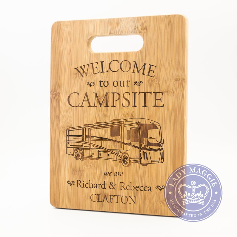 Personalized RV Camper Cutting Board 14x10  Welcome to our image 0