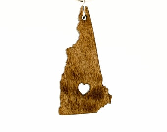 New Hampshire Wooden Keychain - NH State Keychain - Wooden New Hampshire Carved Key Ring - Wooden NH Charm - New Hampshire State Keyring NH