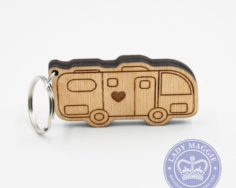 RV Camper Keychain - Motorhome Camper Charm - Camping Keychain - RV Engraved Wood Key Ring - Camper Trailer - RV Keyring