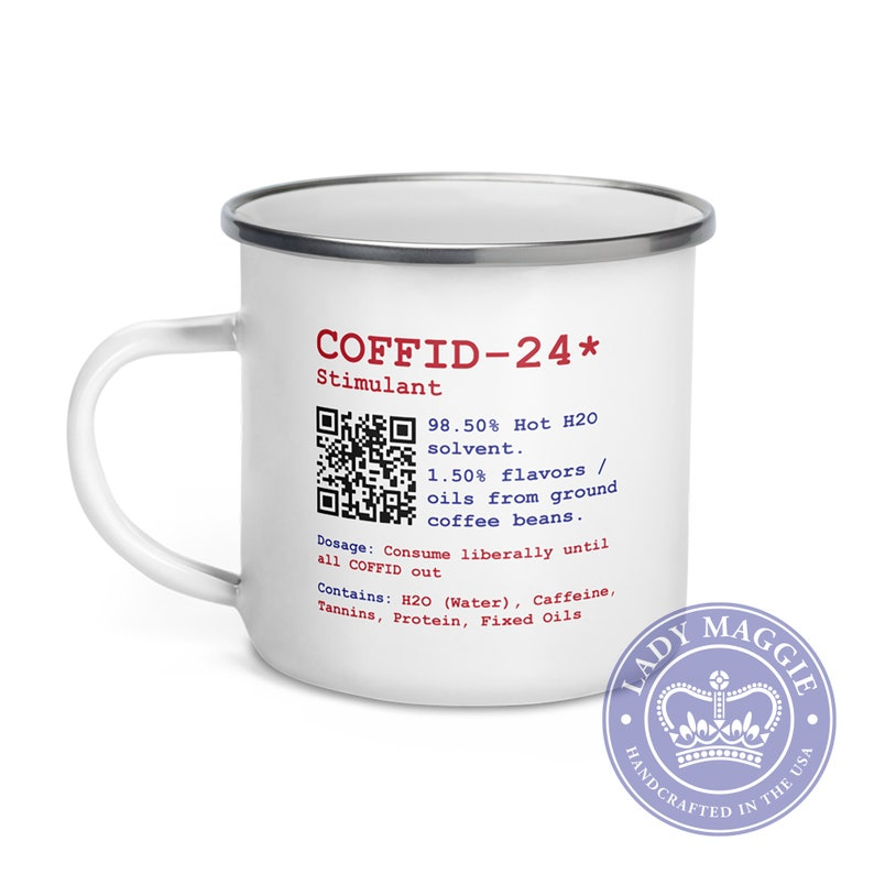 Coffee Caffeine Enamel Mug  Coffid Camp Mug  Rx Caffeine  image 0