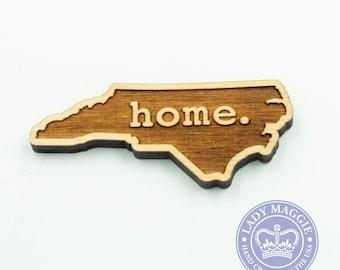 North Carolina Home Engraved Magnet - State of North Carolina Magnet - North Carolina Laser Cut Magnet - Wooden Home NC Magnet - NC Magnet