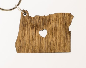 Oregon Wooden Keychain - OR State Keychain - Wooden Oregon Carved Key Ring - Wooden OR Charm - State of Oregon Keychain - Oregon State