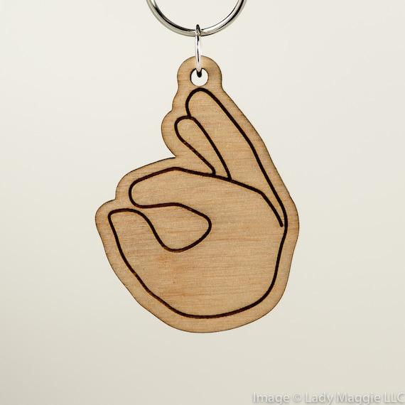 Ok Emoji Keychain Okay Emoji Carved Wood Key Ring Ok Hand Etsy
