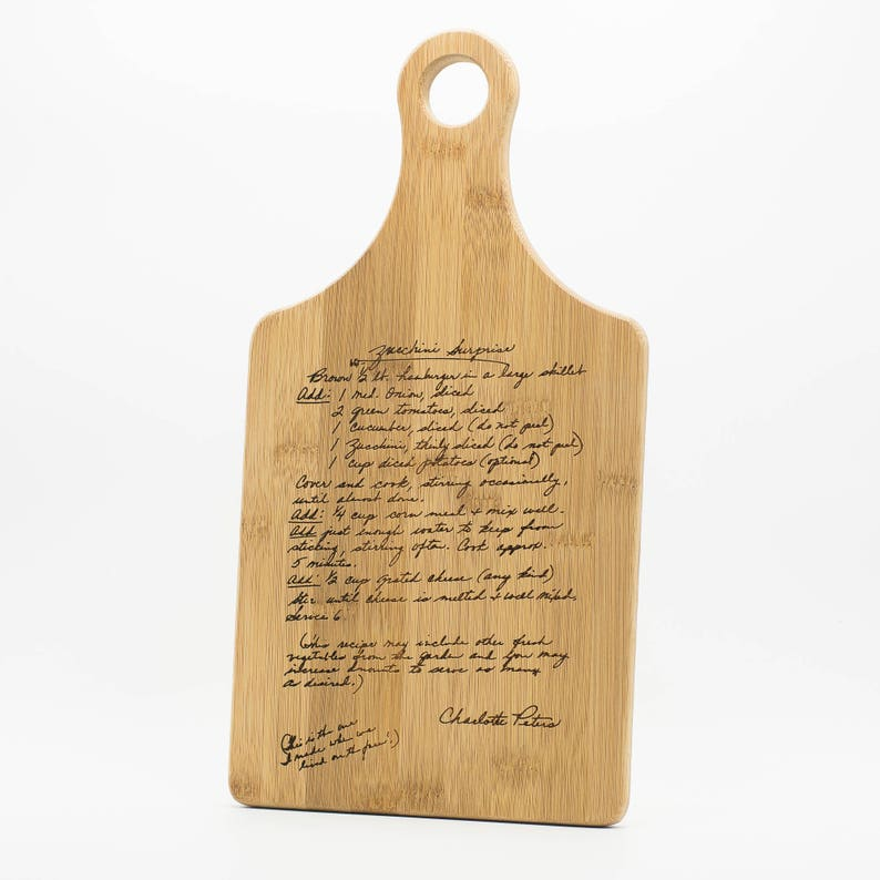 Custom Engraved Handwriting Family Recipe Cutting Board 13.5x7 image 0