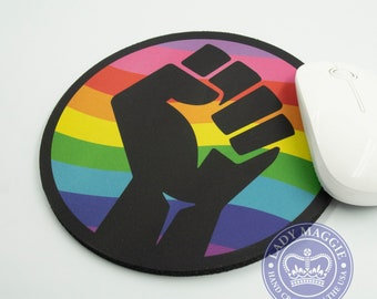 """Raised Fist Rainbow Mousepad - Rainbow Raised Fist Mouse Pad 7 1/2"""" Rainbow Mouse Mat with Free Decal - Solidarity LGBTQ BLM Clenched Fist"""