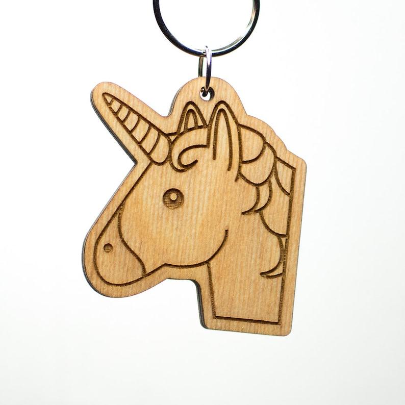 Unicorn Face Emoji Keychain - Wooden Cute Unicorn Emoji Keychain - Unicorn  Head Emoticon Engraved Charm - Unicorn Emoji Carved Wood Key Ring