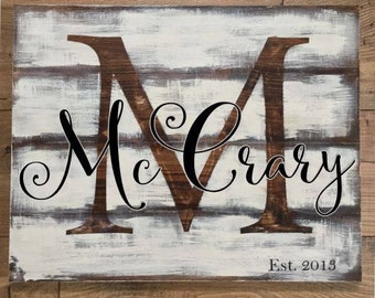 Last Name Wood Sign, Anniversary Wood Sign, Custom Gift, Rustic Wood Sign with Family Name, Established Sign, Gallery Wall Art, Personalized