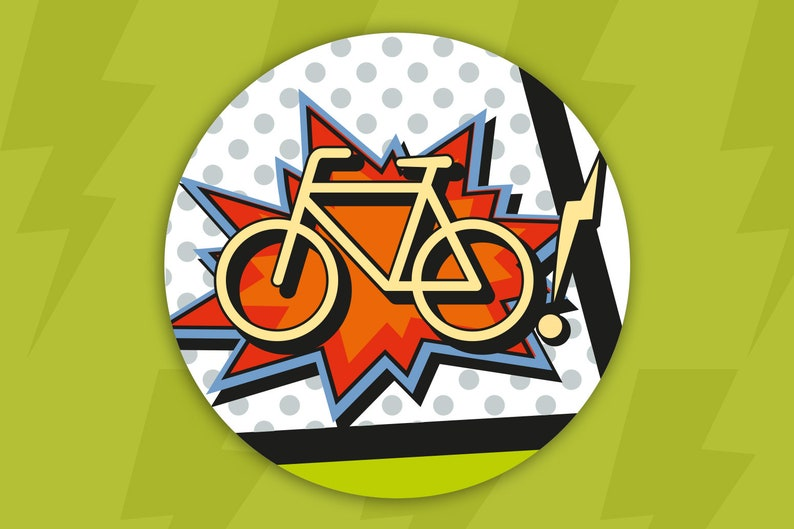 Bicycle Decal Reflective Sticker Comic Bike Accessories Etsy