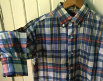 Vintage 70s Plaid Shirt Blue White Red M
