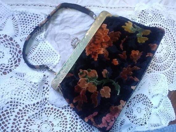 Vintage 50s 60s Carpetbag Purse Handbag Black Oran