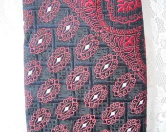 Vintage Red Navy Black Neck Tie Wide 70's Floral Textured
