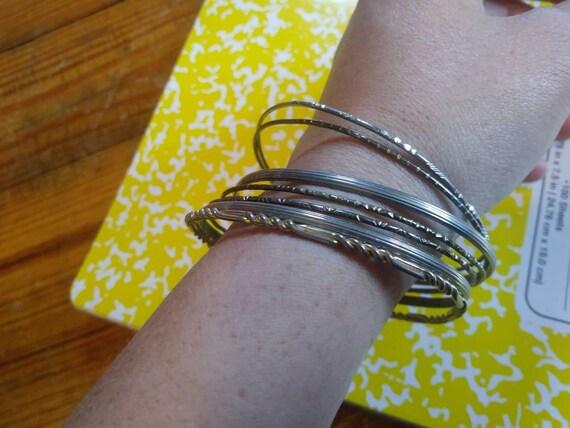 Nine Silver Tone Metal Bangle Bracelets Vintage Bangle Bracelets