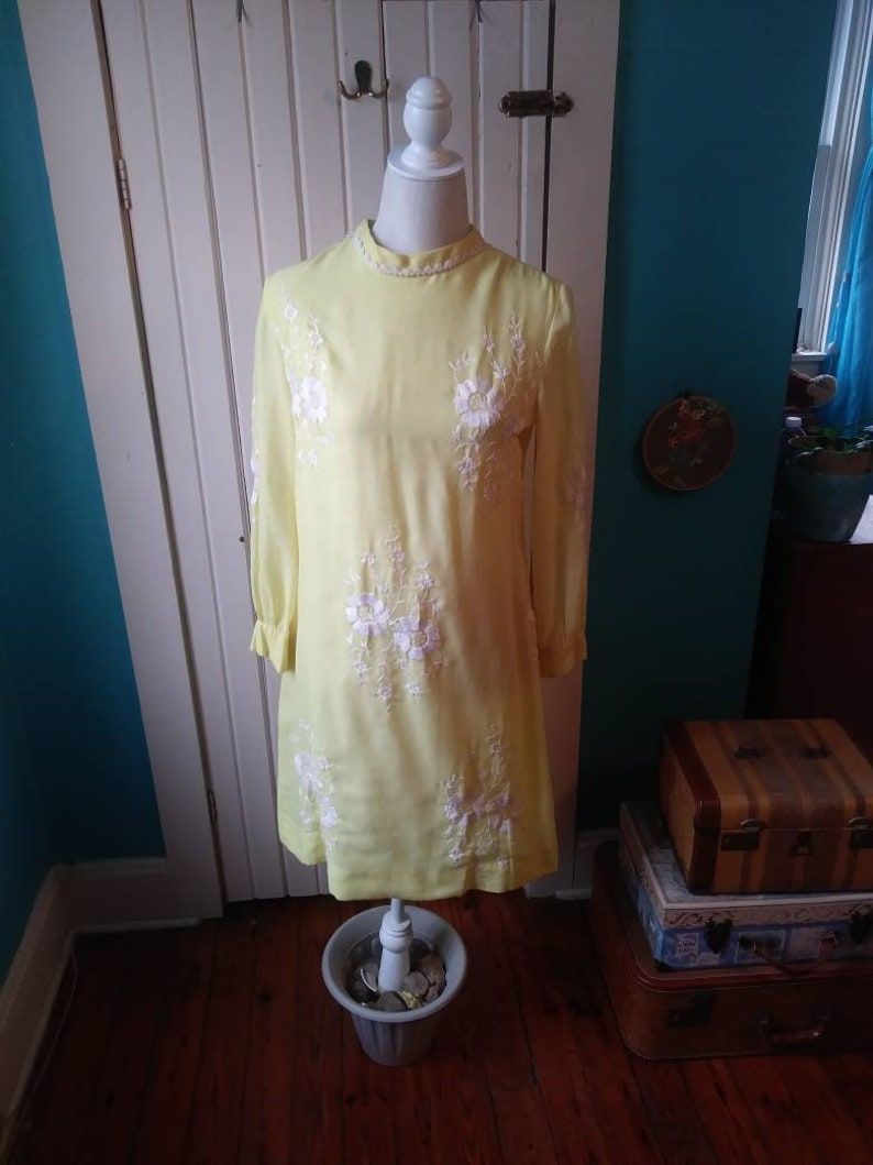4fd9965acecc Vintage Yellow Embroidered Dress Floral Shift 60's Hippie | Etsy