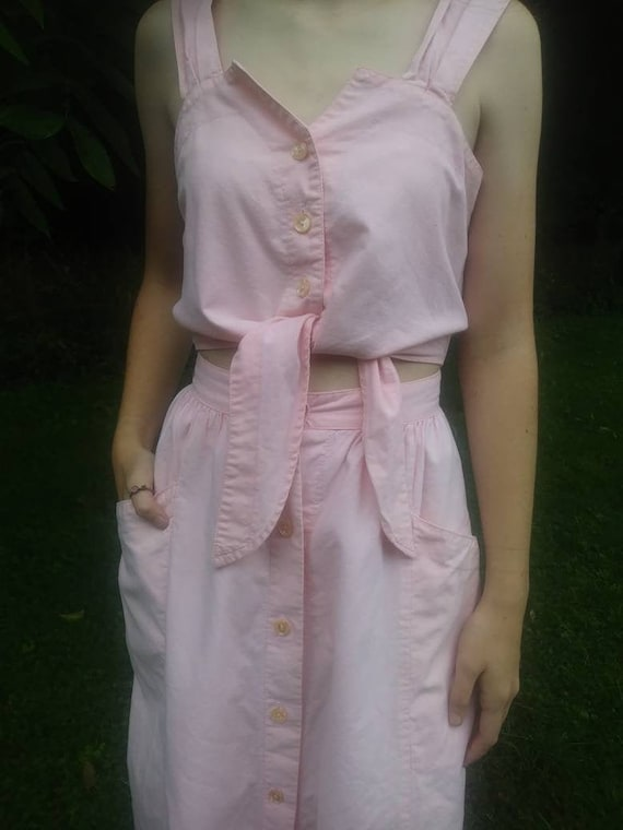 Vintage Pink Cotton Summer Sun Dress 80s 90s Does
