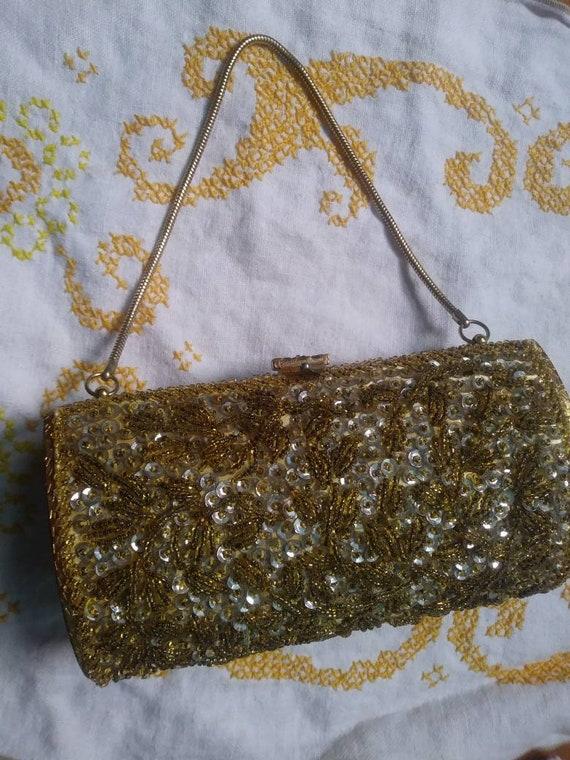 Vintage Beaded Hard Case Bag 50s 60s - image 4