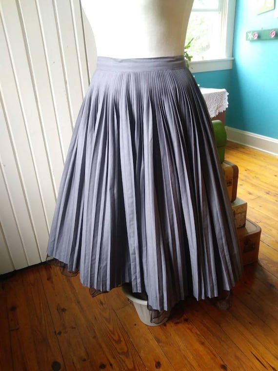 Vintage Grey Pleated Circle Skirt 1950s