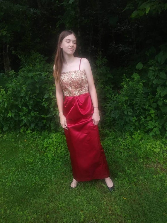 Vintage 60s Tapestry Satin Maxi Dress Red Gold Met