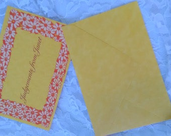 Vintage 70s Note Cards Personalized Judgements from Janet Daisy Yellow Orange