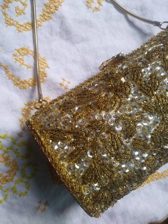 Vintage Beaded Hard Case Bag 50s 60s - image 5