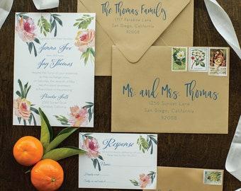 Tropical Floral Beach Cotton Wedding Invitation