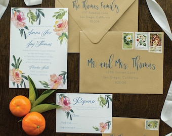 Tropical Beach Wedding Invitation SAMPLE