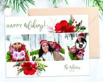 Poinsettia Caligraphy Holiday Card 5x7