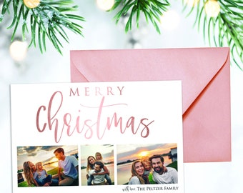 Rose Gold Metallic Calligraphy Holiday Card 5x7