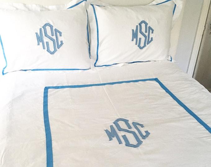 Featured listing image: Monogram Applique Twin Duvet / Monogrammed Bedding / Sham