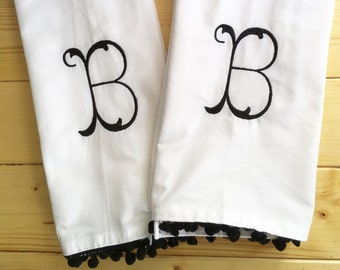 Monogram Kitchen Towel with pom pom trim / Monogram Dish Towel / Host Gift
