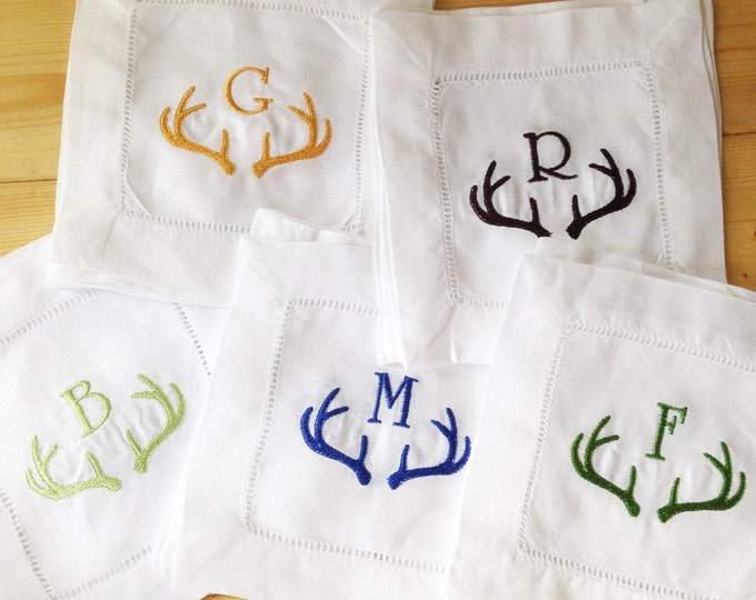 Featured listing image: Monogram Hemstitch Cocktail Napkins with Antler Horns/ Monogram Gift - Set of 4 /