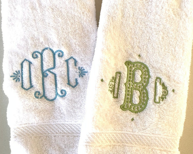 Featured listing image: Monogram Terrycloth Hand Towel / Graduation Gift / Wedding Gift / terr cloth towel