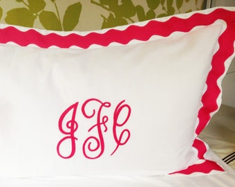 Monogram Standard Pillow Sham with Scalloped Ribbon Trim / Monogram Bedding