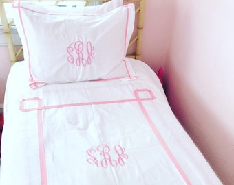Monogram Twin Duvet with Ribbon Trestle Trim  / Monogram Bedding / Comforter / Coverlet