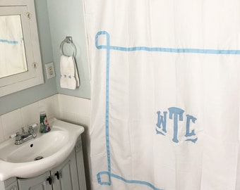 Monogram Applique Shower Curtain with trestle trim / Bath Curtain