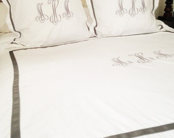 Monogram King Duvet with Ribbon Trim / Monogram Bedding / Personalized Duvet