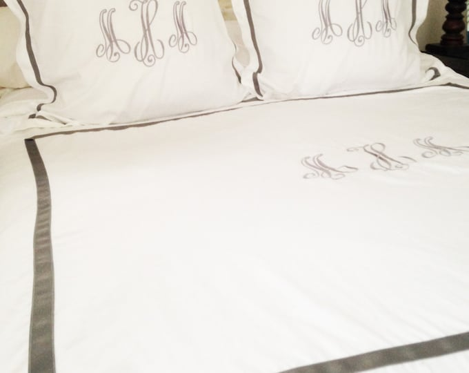 Featured listing image: Monogram King Duvet with Ribbon Trim / Monogram Bedding / Personalized Duvet