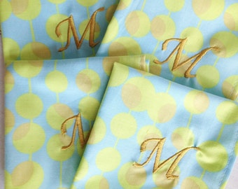 Monogram Cocktail Napkin in Martini Ice Print - Set of 4 / Cotton Napkin / Monogram Gift