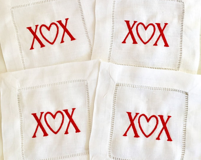 Featured listing image: Valentine Cocktail Napkins / Heart napkin / Valentines Gift / Monogram Gift - Set of 4