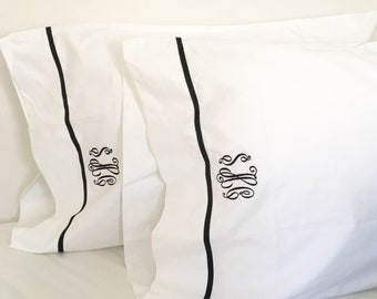 Monogram Full Sheet Set with Ribbon Trim / Monogram Bedding