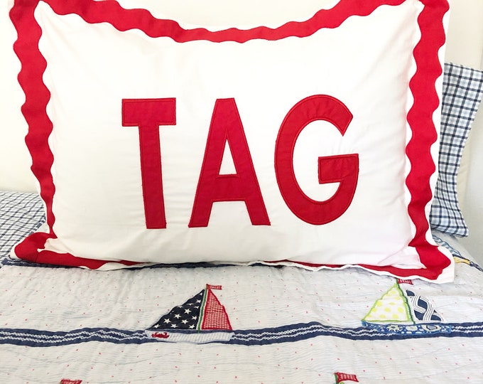 Featured listing image: Applique Monogram Standard Pillow Sham with Scalloped Ribbon Trim / Monogram Bedding / Applique Sham