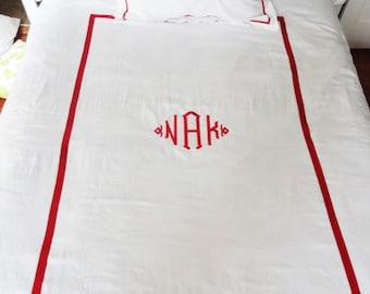 Monogram Twin Duvet Cover with Ribbon Trim / Monogram Bedding / Personalized Bedding / Dorm Room