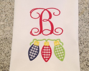 Christmas Lights Monogrammed Guest Towel / Christmas Decor