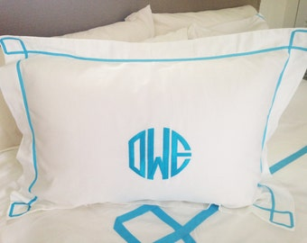 Monogram Standard Pillow Sham with Ribbon Trestle Trim / Monogram Bedding / Graduation Gift