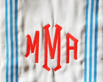 Monogram Baby Burp Cloth with Blue Striped Ribbon / Personalized Baby Gift