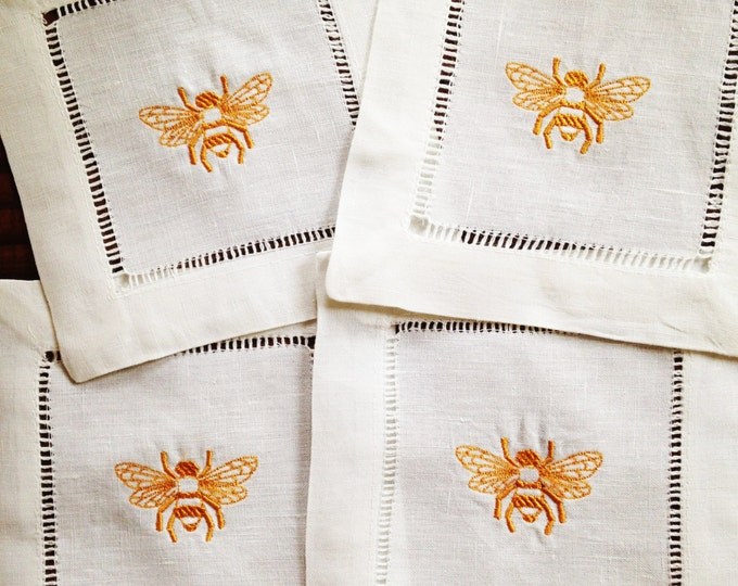 Featured listing image: Cocktail Napkin with Embroidered Bee/ Monogram Gift - Set of 4
