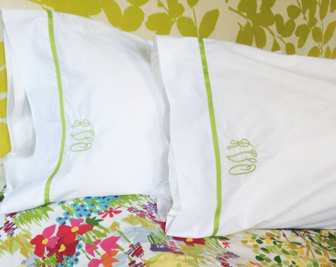 Featured listing image: Monogram Standard Pillow Cases with Ribbon Trim / Monogram Bedding - Set of 2