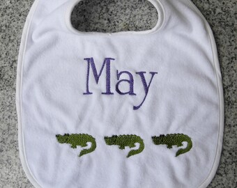 Monogram Baby Bib with Alligators / Monogram Baby Gift