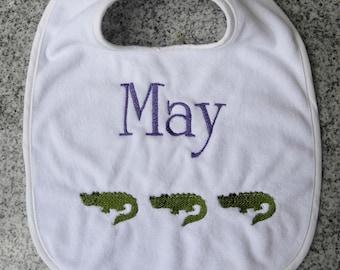 Monogram Baby Bib with Alligators / Monogram Baby Gift