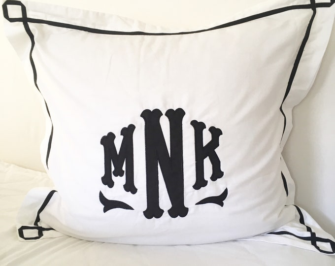 Featured listing image: Monogram Appliqué Euro Pillow Sham with Trestle Trim  / Baby Pillow / Monogram Bedding
