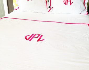 Monogram Full/Queen Duvet with Ribbon Trim / Monogram Bedding / Comforter